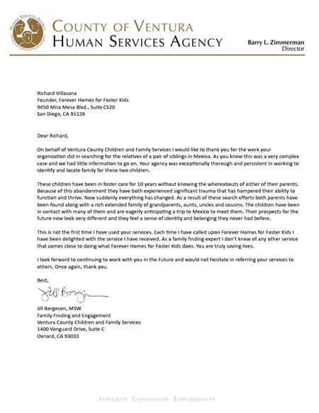 County of Ventura foster children letter